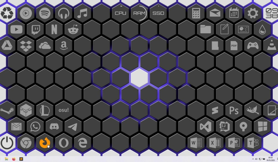 Alpha Hexagon Rainmeter Skin