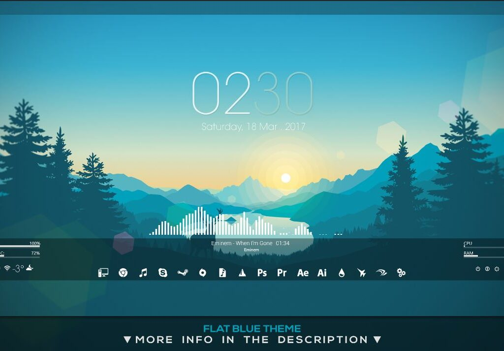 Flat Blue HUD for Rainmeter Version 1.2f