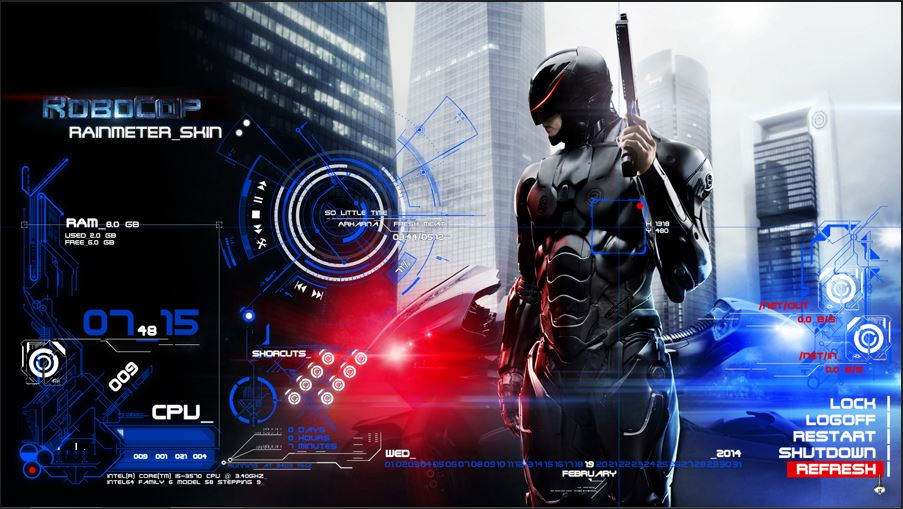 RoboCop Advanced Rainmeter Theme HUD